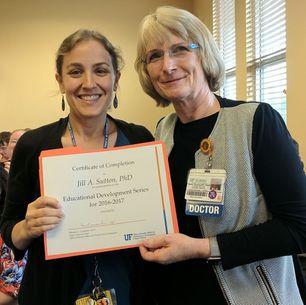 Jill Sutton, PhD receives Educational Development Series Certificate